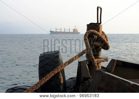 the mooring rope on the bitts