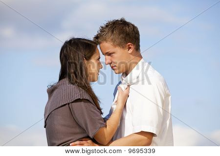 teenage couple having a dispute