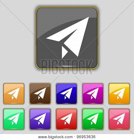 Paper Airplane Icon Sign. Set With Eleven Colored Buttons For Your Site. Vector