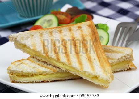 Toast with cheese, closeup