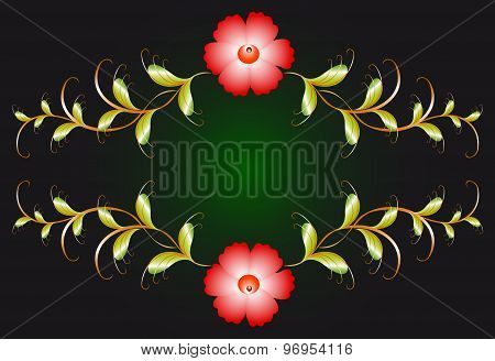 Floral ornament and red flowers on dark. EPS10 vector illustration