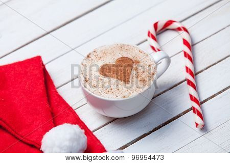 Cup Of Coffee And Santas Hat