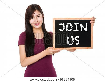 Asian woman hold with the blank chalkboard showing join us on board