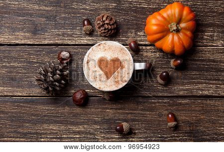 Cup And Pine Cone With Acorn And Pumpkin