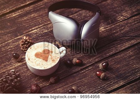 Cup Of Coffee And Headphones