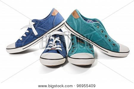 Blue And Green Canvas Sneakers