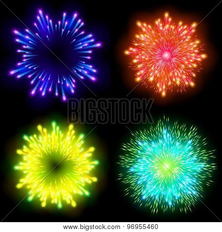 Festive Patterned Firework  Bursting  In Various Shapes Sparkling Pictograms Set  Against Black Back