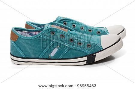 Pair Of Green Canvas Sneakers