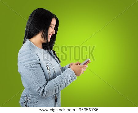 Happy With Her Communications By Cell Phone