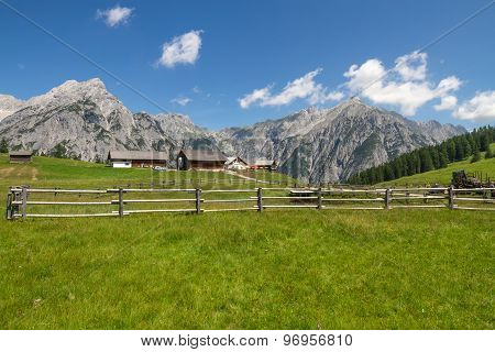 Rural Scene with Mountain Range in Background. Alps Austria.