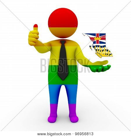3d businessman people LGBT - with a map of the flag of British Columbia