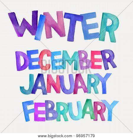 Winter season vector watercolor names