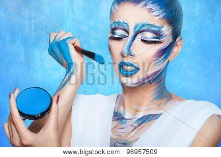 Portrait Of Paint On His Face.