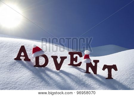 Advent Mean Christmas Time Snow Santa Hat Blue Sky