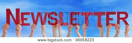 Many People Hands Holding Red Straight Word Newsletter Blue Sky