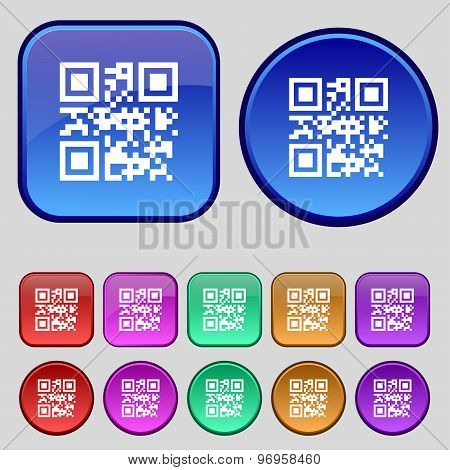 Qr Code Icon Sign. A Set Of Twelve Vintage Buttons For Your Design. Vector