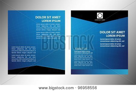 Vector layout business flyer, magazine cover, template or corporate banner design in blue colors