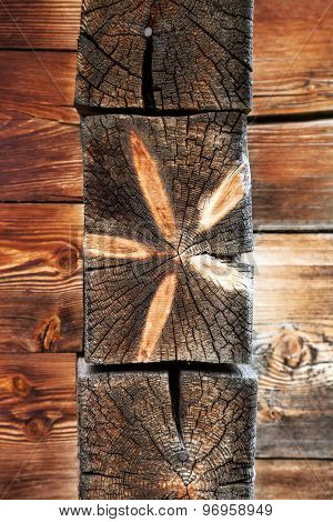 old wooden background vertical tree rings pattern