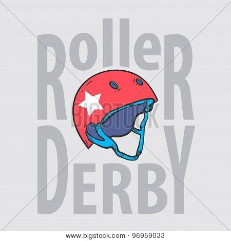 Roller Derby Helmet Typography, T-shirt Graphics, Vectors