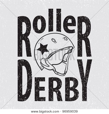 Roller derby helmet typography t-shirt graphics vectors