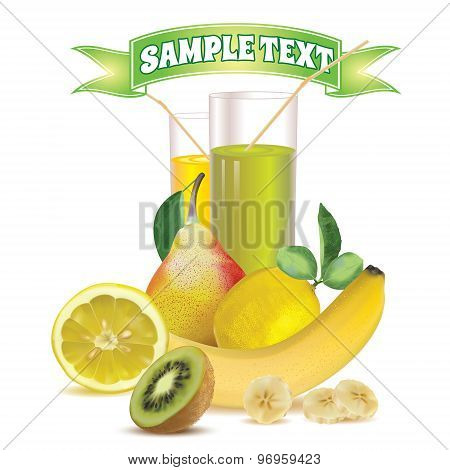 two glasses with juice and straw, lemon, banana, pear and kiwi