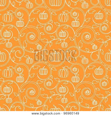Linear Seamless Background With Pumpkin And Swirls