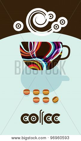 Coffee Beans, Steam Over Cup. Flyer, Banner, Menu Cover Design. 60S Flat Style. Wording For Logo