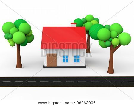 3d house with trees and road