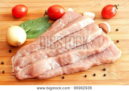 Raw Pork With Spices And Vegetables