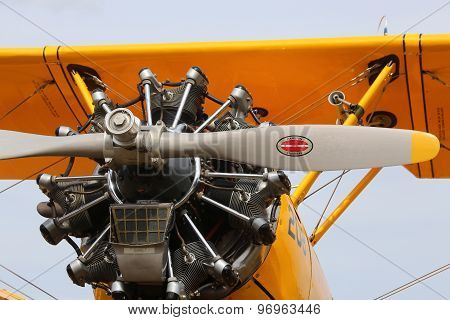 Thiene, Vicenza - Italy. 26Th July, 2015: Air Show In Thiene City In Italy Propeller Of A Powerful E