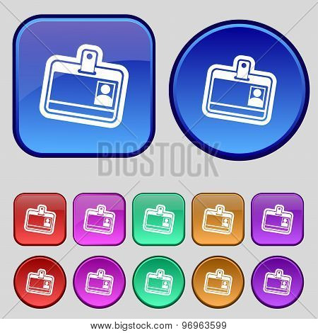Id Card Icon Sign. A Set Of Twelve Vintage Buttons For Your Design. Vector