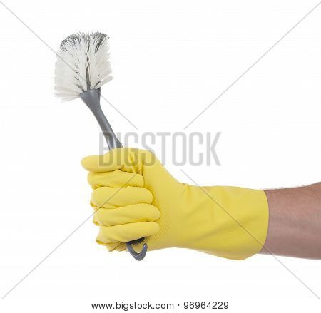 Protection Glove Holding A Dish-brush