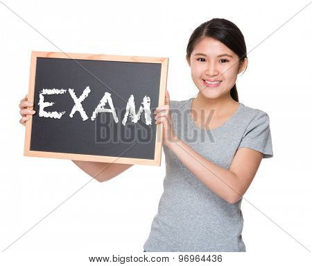 Young student hold with black board showing a word exam