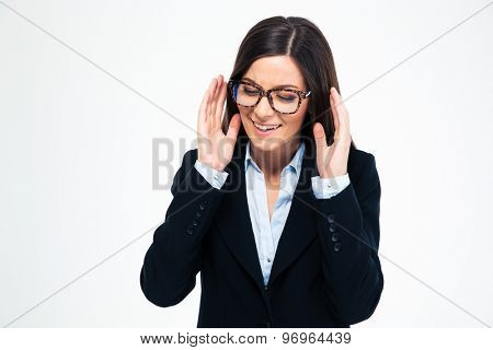 Portrait of a stressed businesswoman isolated on a white background