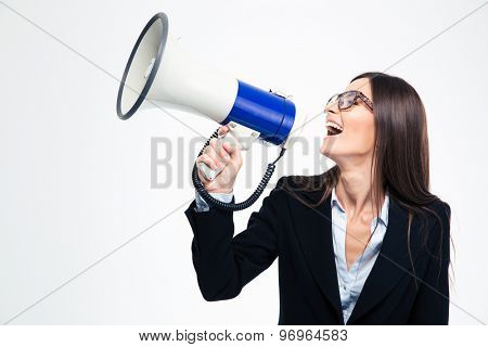 Businesswoman screaming on megaphone isolated on a white background