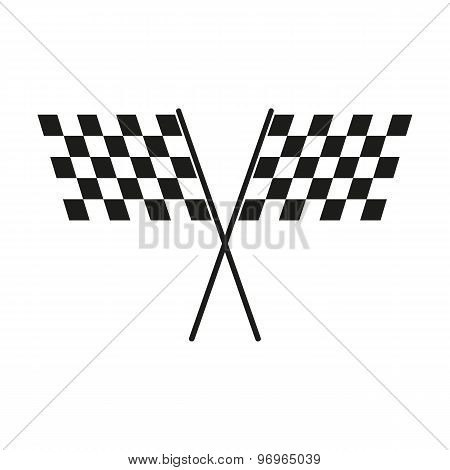 The checkered flag icon. Finish and start, winner symbol. Flat