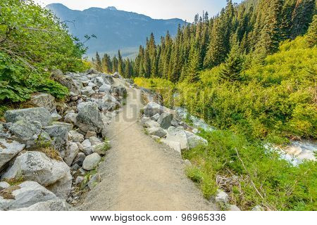 Beautiful Mountain Trail View at Joffre Lakes, British Columbia, Canada.