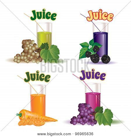 set of  glasses for juice from the grapes, carrot and blackberry