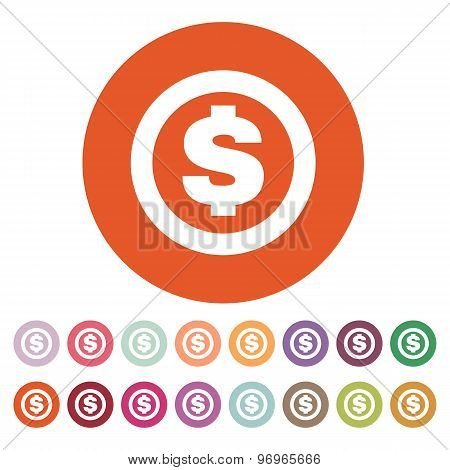 The dollar icon. Cash and money, wealth, payment symbol. Flat