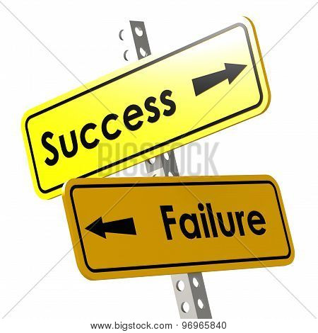 Success And Failure With Yellow Road Sign