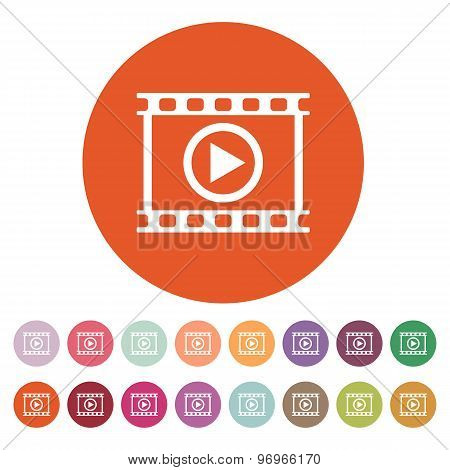The video icon. Play and player, movie, cinema symbol. Flat