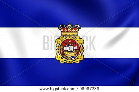 Flag Of Aviles City, Spain.