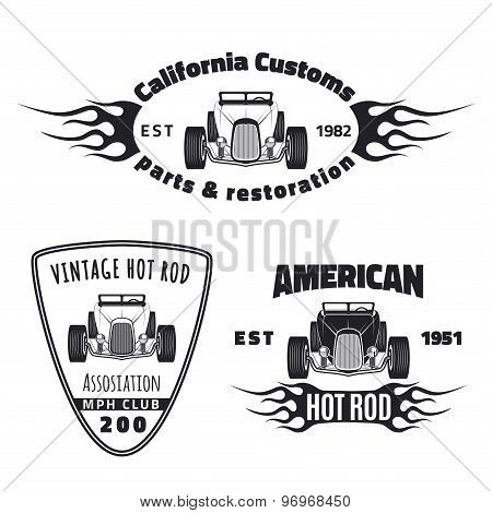 Set of vintage hot rod labels.