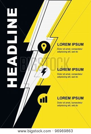 Abstract Yellow, Black And White Background With Lightning And Icons. Concept For Brochure Cover, Fl