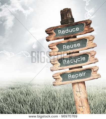 Wooden Sign With Reduce, Reuse, Recycle And Repair And Wording Ecology Concept.