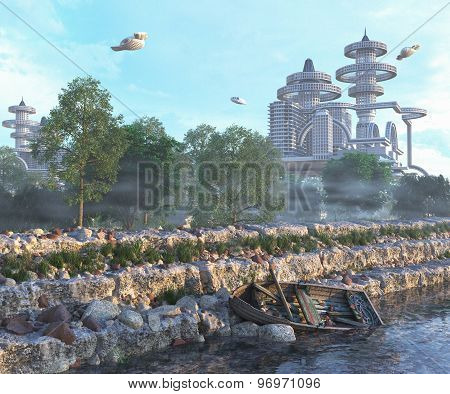 view of Futuristic City with flying spaceships and old boat and modern concept