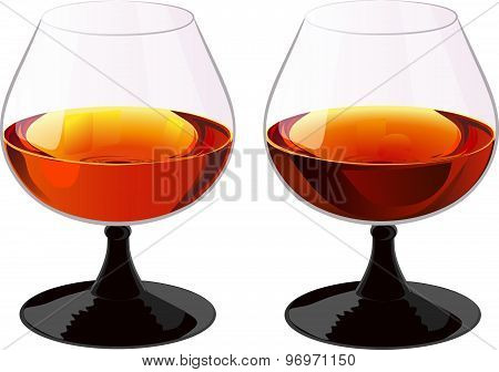 Two glasses of brandy.