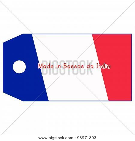 Vector Illustration Of Bassas Da India Flag On Price Tag With Word Made In Bassas Da India Isolated