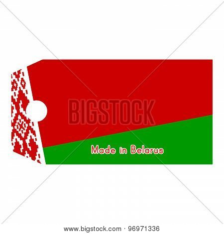 Vector Illustration Of Belarus Flag On Price Tag With Word Made In Belarus Isolated On White Backgro
