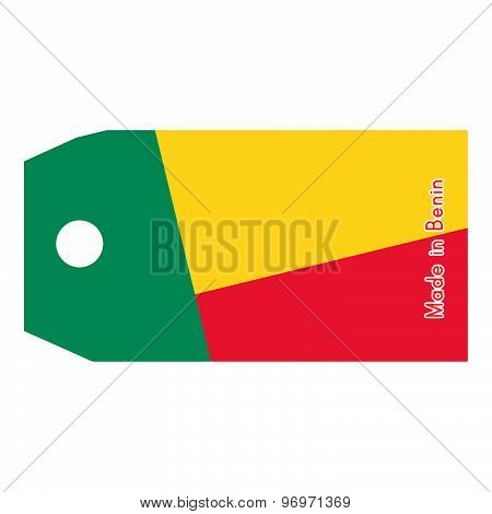Vector Illustration Of Benin Flag On Price Tag With Word Made In Benin Isolated On White Background